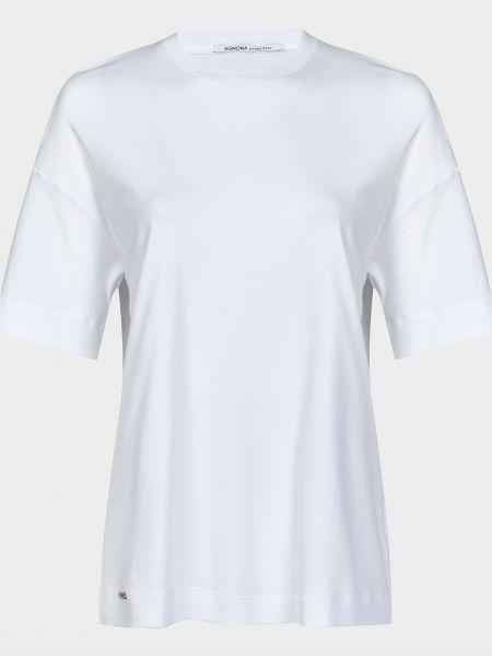 Хлопковая футбольная белая футболка Agnona