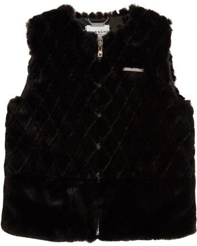 Czarny kamizelka z kieszeniami sztuczne futro Givenchy