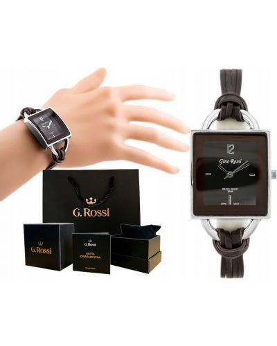 Brązowy klasyczny zegarek na skórzanym pasku srebrny Gino Rossi