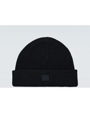 Шерстяная черная шапка бини с вышивкой Acne Studios