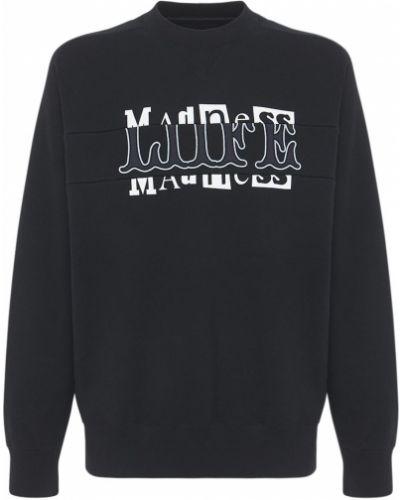 Czarna bluza bawełniana z printem Sacai