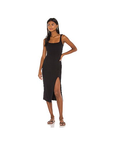 Черное пляжное платье в рубчик с разрезом из вискозы Lspace