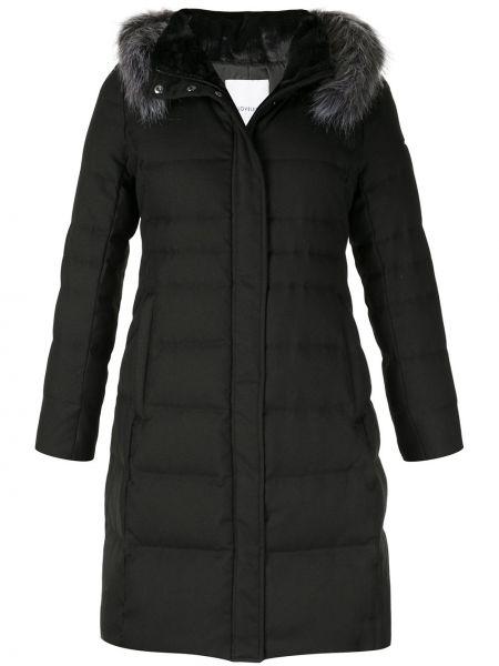 Черное пуховое пальто с капюшоном Loveless
