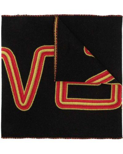 Черный шелковый шарф с опушкой Givenchy