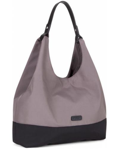 Кожаная сумка через плечо серая Ecco