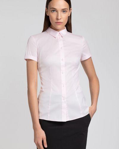 Блузка с коротким рукавом розовая приталенная Vassa&co
