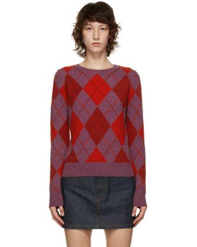 Шерстяной малиновый свитер с воротником с длинными рукавами A.p.c.