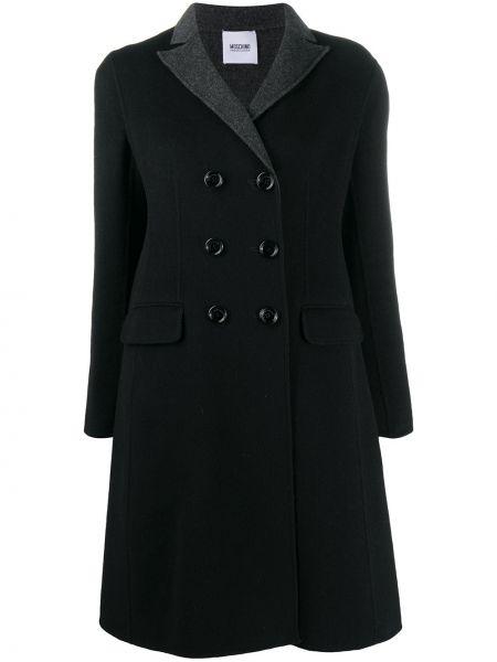 С рукавами черное шерстяное пальто с лацканами Moschino Pre-owned