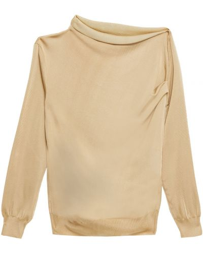 Вязаный свитер золотой из вискозы Nina Ricci