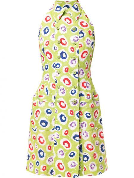 Sukienka z kołnierzem zielona Chanel Pre-owned