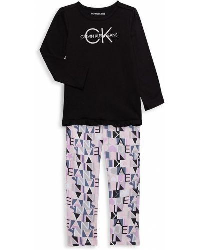 Черный топ с длинными рукавами Calvin Klein