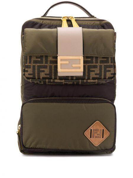 Nylon plecak dwustronny z łatami na paskach Fendi