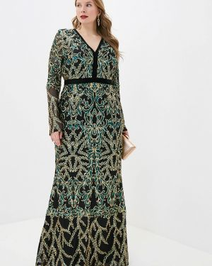Вечернее платье осеннее черное Goddiva Size Plus