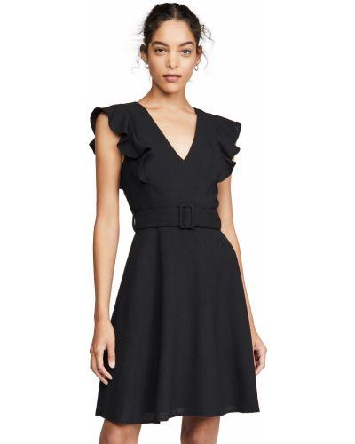 Черное платье с поясом с V-образным вырезом Black Halo