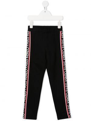 Облегающие черные брюки с поясом из вискозы Kenzo Kids