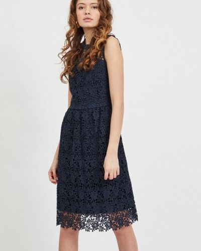 Прямое синее платье А-силуэта Vila