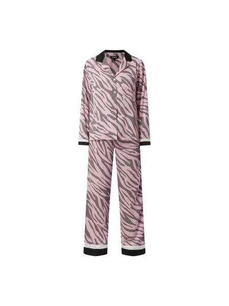 Różowa spodni piżama z długimi rękawami w paski Dkny