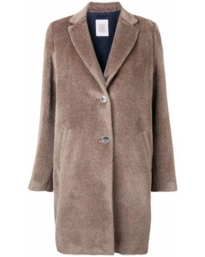 Бежевое пальто с капюшоном на пуговицах Eleventy
