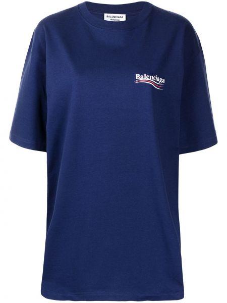 Хлопковая синяя футболка с вырезом Balenciaga