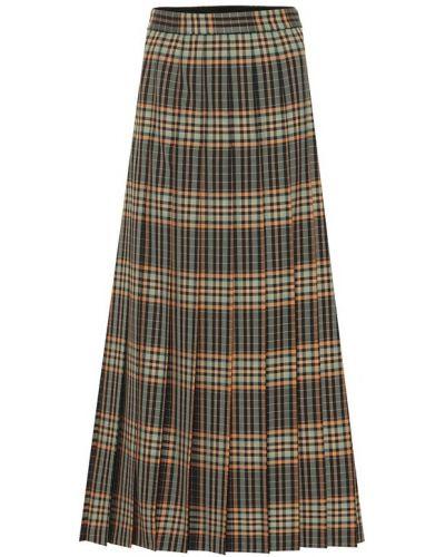 Плиссированная юбка макси шотландка Gucci
