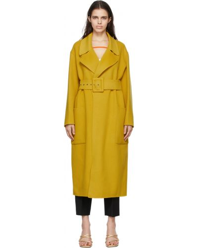 Желтое пальто с поясом Sportmax