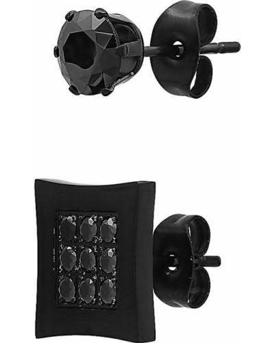 Черные серьги-гвоздики с бриллиантом квадратные Anthony Jacobs