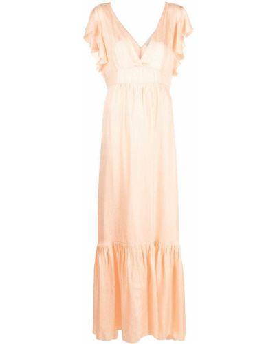 Оранжевое шелковое с рукавами платье макси Forte Forte