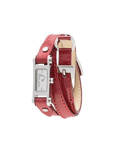 Szary zegarek na skórzanym pasku skórzany klamry Christian Dior