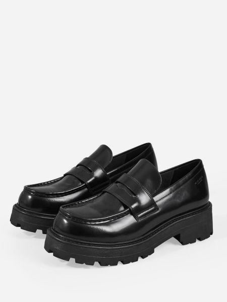 Черные кожаные лоферы на каблуке Vagabond