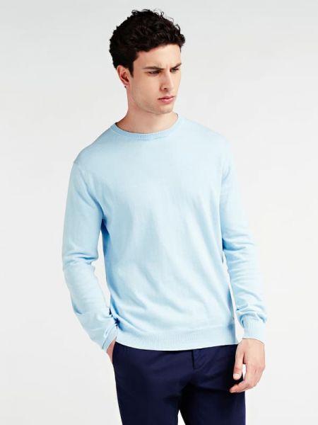 Prążkowany niebieski sweter bawełniany Guess