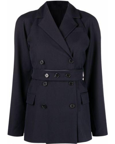 Синий удлиненный пиджак двубортный с поясом Rokh
