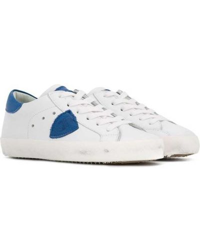Кожаные белые кроссовки на шнуровке на каблуке Philippe Model Kids