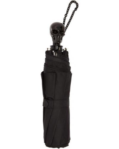 Z paskiem czarny parasol z czaszkami Alexander Mcqueen