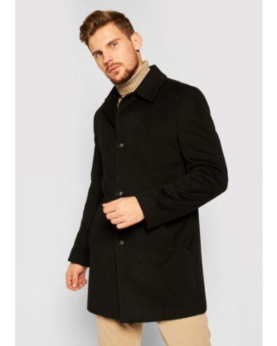 Czarny płaszcz wełniany Roy Robson