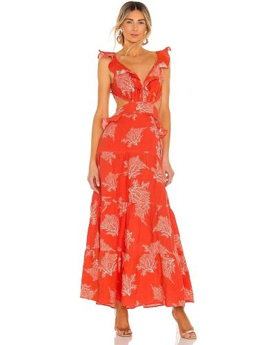 Льняное красное платье макси на молнии Karina Grimaldi
