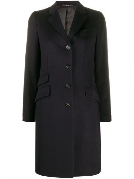 Однобортное синее шерстяное пальто на пуговицах Paul Smith