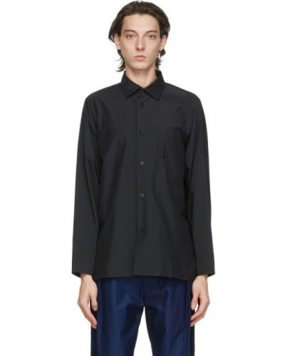 Czarna koszula bawełniana z długimi rękawami 132 5. Issey Miyake
