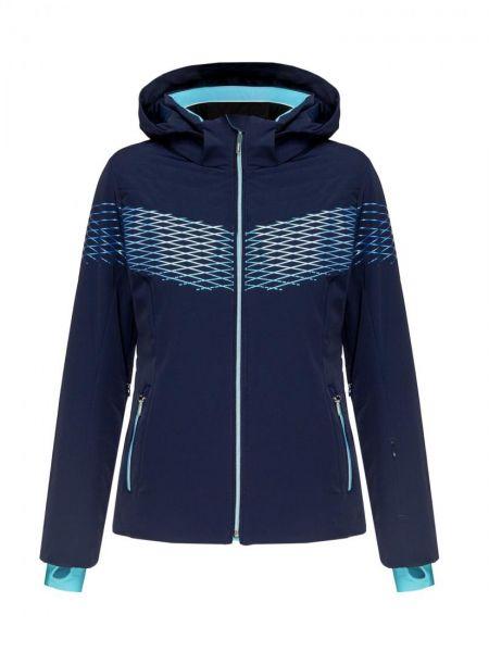 Синяя нейлоновая стеганая куртка мембранная с манжетами Descente