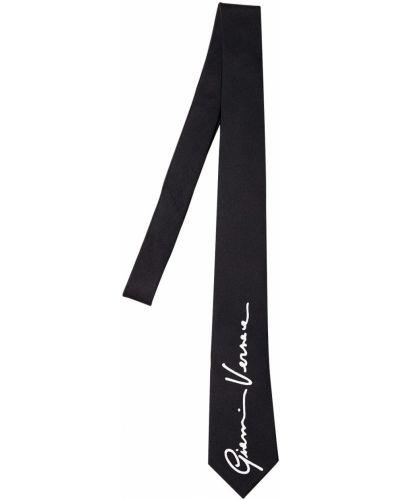 Czarny krawat z jedwabiu Versace