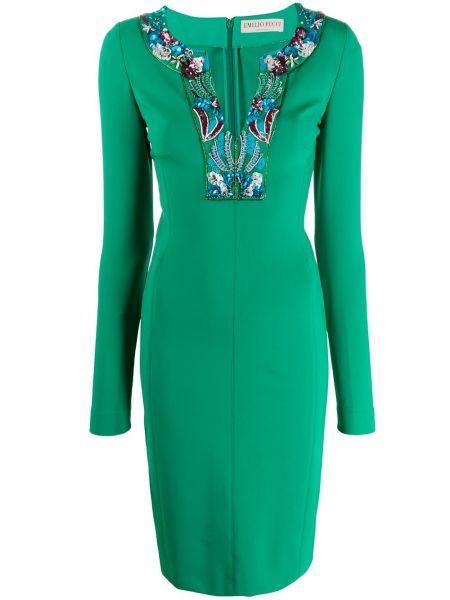 Платье миди с бисером с V-образным вырезом Emilio Pucci