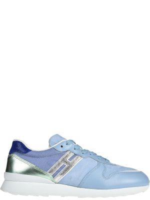 Кожаные кроссовки - голубые Hogan