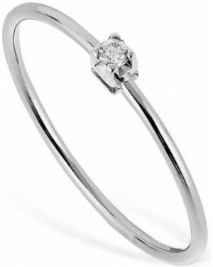 Biały złoty pierścionek z diamentem Vanzi