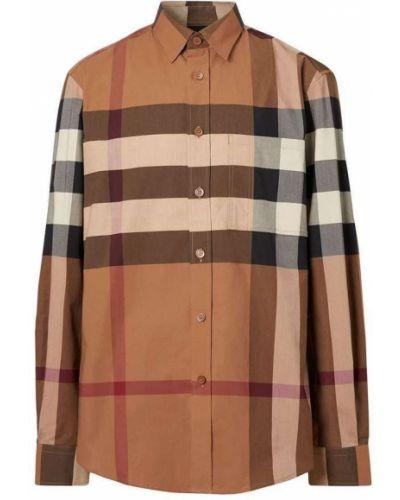 Brązowa koszula bawełniana z długimi rękawami Burberry