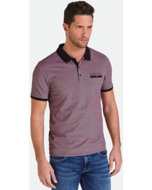 T-shirt bawełniana - fioletowa Guess