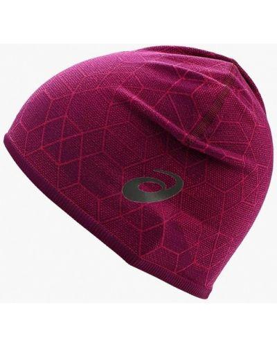 Розовая шапка осенняя Asics