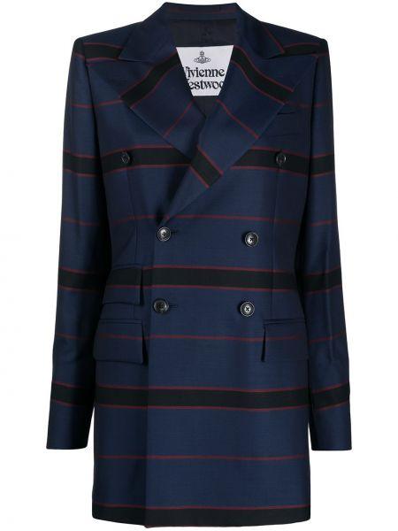Синий удлиненный пиджак двубортный с карманами Vivienne Westwood
