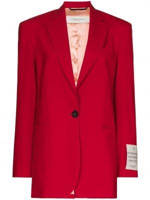 Однобортный красный удлиненный пиджак с карманами Golden Goose