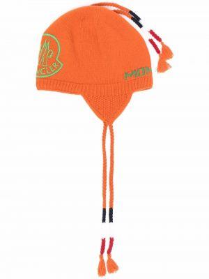 Czapka beanie - pomarańczowa Moncler