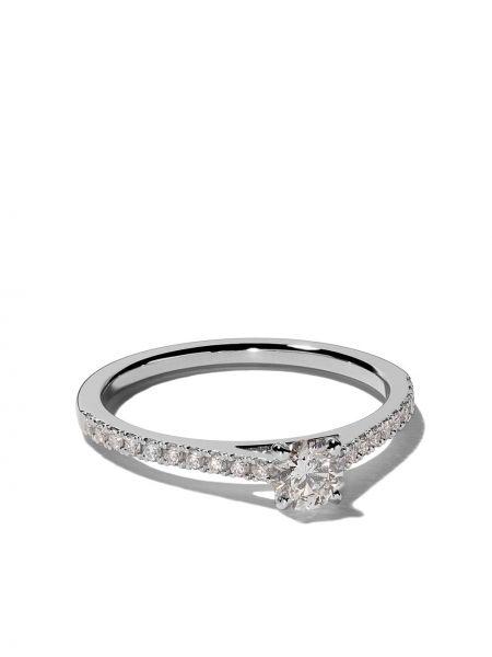 С ромбами мерцающее кольцо круглое с бриллиантом De Beers
