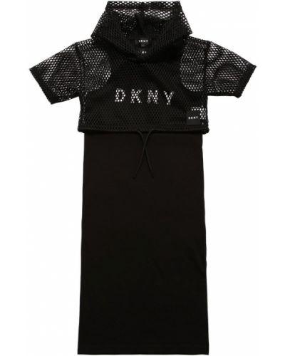 Трикотажное черное платье без рукавов Dkny